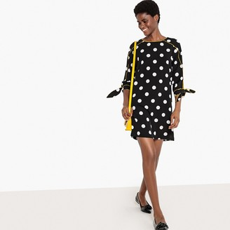 La Redoute Collections Polka Dot Printed Shift Dress with Tie Sleeves