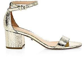 Schutz Women's Chimes Crackle Leather Ankle-Strap Sandals