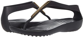 Crocs Serena Metallic Bar Flip (Gold/Black) Women's Shoes