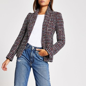 River Island Red boucle long sleeve blazer