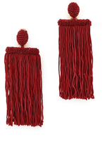 Oscar de la Renta Long Silk Waterfall Tassel Clip On Earrings