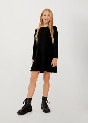 MANGO Fluted-hem knitwear dress black - 5 - Kids