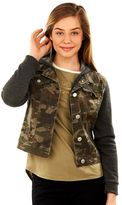 Juniors' Wallflower Hooded Camo Denim Jacket