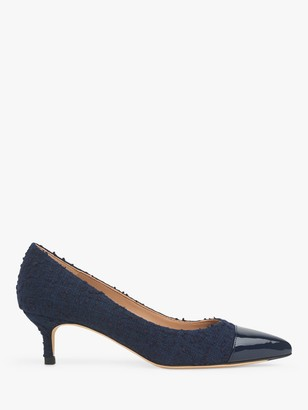 LK Bennett Audrey Tweed Pointed Toe Court Shoes, Navy