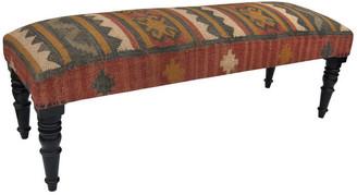 Herat Oriental Indo Handmade Cottonupholstered Wooden Bench