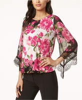 Alfani Lace-Trim Bubble-Hem Blouse, Created for Macy's