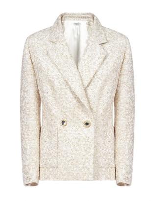 Alessandra Rich Crystal Button Tailored Tweed Blazer