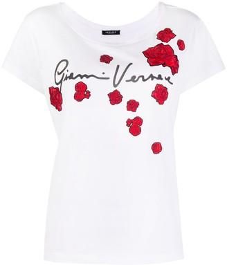 Versace floral-appliqued T-shirt