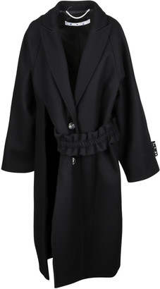 Off-White Wool Felt Curtain Belt Coat