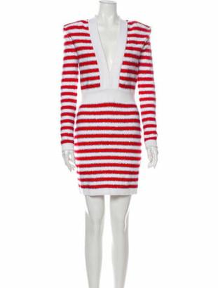 Balmain Striped Mini Dress w/ Tags Red