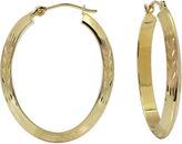 JCPenney FINE JEWELRY 14K Oval Diamond-Cut Hoop Earrings