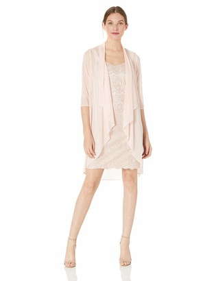 R & M Richards R&M Richards Women's Petite Two Piece Laced Duster Dress and Solid Sheer Jacket