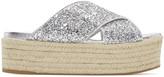 Miu Miu Silver Glitter Beach Sandals