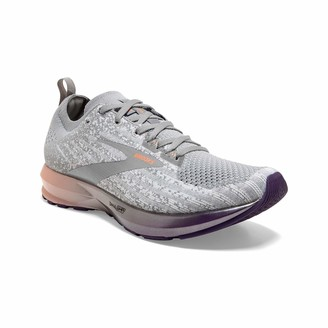 Brooks Womens Levitate 3 Running Shoe - White/Purple/Cantaloupe - B - 7.0