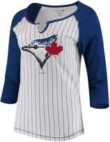 New Era Women's 5th & Ocean by White/Royal Toronto Blue Jays Pinstripe 3/4-Sleeve Notch Neck Raglan T-Shirt