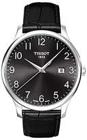 Tissot T0636101605200 Tradition Date Leather Strap Watch, Black