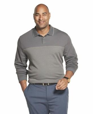 Van Heusen Men's Big & Tall Big Flex Long Sleeve Jaspe Polo Shirt