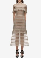 Self-Portrait Self Portrait Yoke Frill Midi Dress Nude