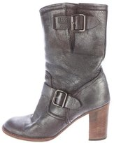 Anna Sui Buckle-Accented Metallic Ankle Boots