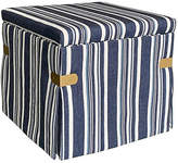 One Kings Lane Open House Squires Storage Ottoman - Blue Cording Stripe