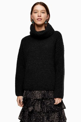 Topshop Womens Grey Knitted Chunky Roll Neck Jumper - Charcoal