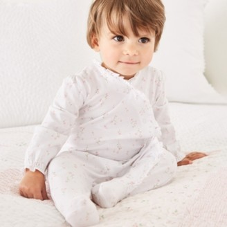 The White Company Posey Floral Frill Sleepsuit, White, 18-24mths