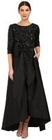 Adrianna Papell 3/4 Sleeve Beaded Bodice Taffta Gown