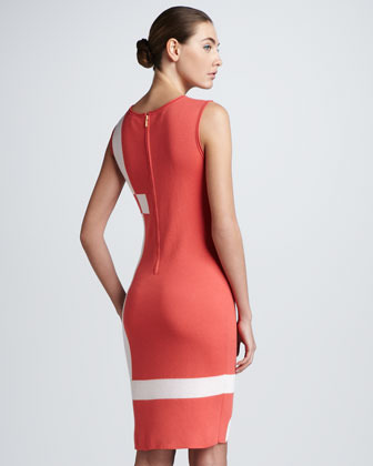 Escada Logo-Knit Dress, Pastel Red