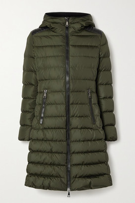 Moncler Talev Hooded Faux Leather-trimmed Quilted Shell Down Jacket - Army green