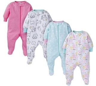 Onesies Brand Baby Girls Sleep 'N Play Pajamas, 4-Pack