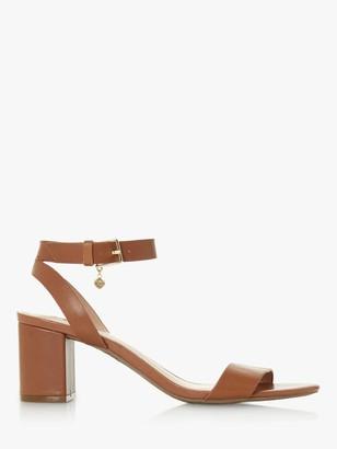 Dune Memee Leather Mid Block Heel Sandals
