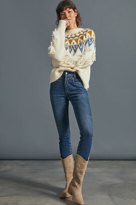Pilcro And The Letterpress Pilcro High-Rise Faux Suede-Trimmed Skinny Jeans By in Blue Size 25
