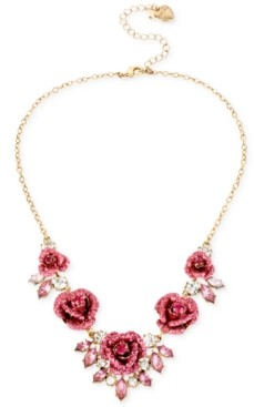 Betsey Johnson Gold-Tone Glitter Rose Frontal Necklace
