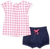 Isaac Mizrahi Oversized Gingham Sleeve Tee & Short Set (Baby Girls 0-9M)