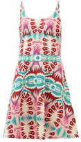 Le Sirenuse Le Sirenuse, Positano - Cindy Fish Tail-print Cotton-poplin Mini Dress - Womens - Pink Print