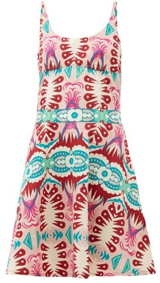 Le Sirenuse Le Sirenuse, Positano - Cindy Fish Tail-print Cotton-poplin Mini Dress - Womens - Pink Print