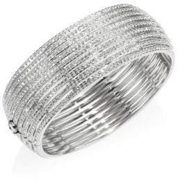 Adriana Orsini Striped Side Crystal Hinge Bracelet