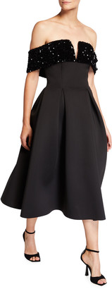 Badgley Mischka Off-Shoulder Sequin Velvet Trim Full Skirt Scuba Dress