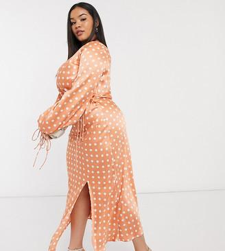 ASOS DESIGN Curve satin wrap front midi dress in polka dot