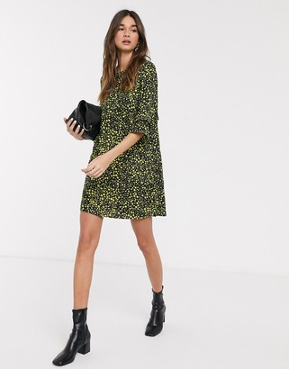 Only Mary 3/4 sleeve printed smock dress-Black