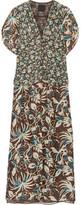 Anna Sui Floral-print Silk Crepe De Chine Maxi Dress - Dark brown