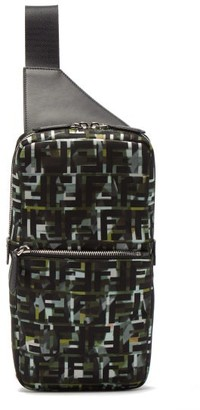 Fendi Ff And Camouflage-print Cross-body Bag - Green Multi