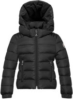 Moncler Oiron Hooded Fitted Puffer Jacket, Black, Size 4-6