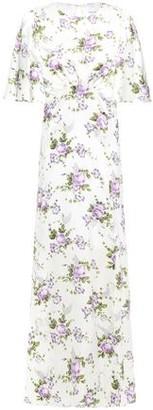 Les Rêveries Cutout Gathered Floral-print Washed-silk Maxi Dress
