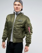 Alpha Industries MA-1 Bomber Jacket With Hood Inlay In Regular Fit Dark Green