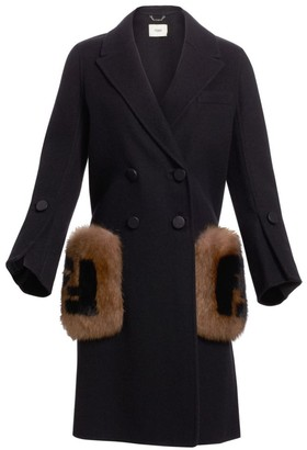 Fendi Long-Sleeve Fox Fur-Trim Pocket Logo Coat