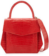 Nancy Gonzalez Crocodile Large Structured Top-Handle Bag, Red Matte