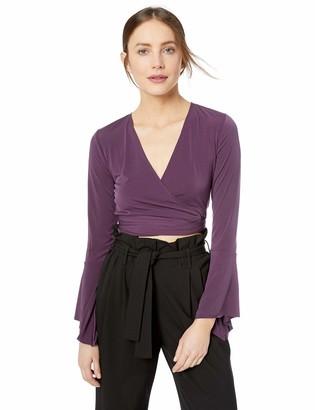 BCBGeneration Women's WRAP Crop Long Sleeve Knit TOP