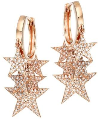 Nina Gilin 18K Rose Gold & Diamond Pave Star Charm Hoop Earrings