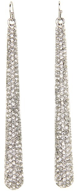 GUESS Paddle Stick Linear Earrings (Silver/Crystal) - Jewelry